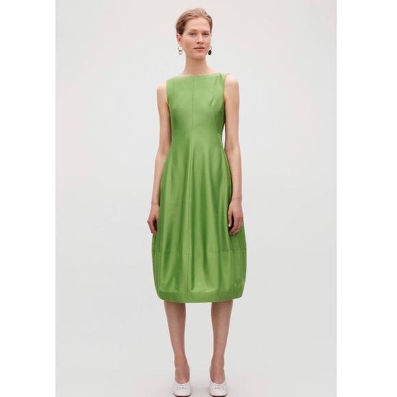 COS Cotton Silk Sleeveless Green Cocoon Dress XS